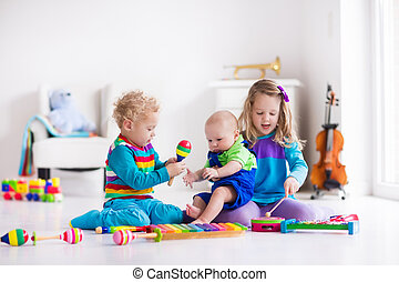 Music for kids, children with instruments - Children with...