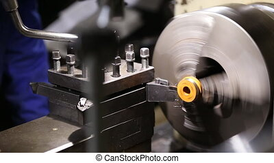 working lathe operator controlled close-up