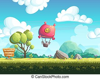 Seamless background blimp above the hills - seamless vector...