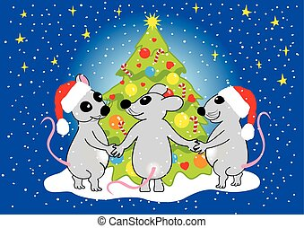 Mice celebrate Christmas, vector. - Mice celebrate Christmas...