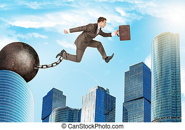 Man jumping over gap - Image of young businessman with iron...