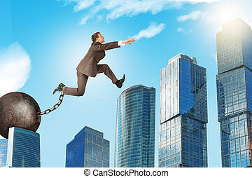 Young man in suit jumping over gap - Image of young...