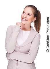 Smiling young woman - Full isolated portrait of a beautiful...