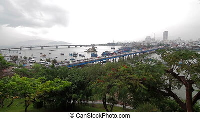 People and vehicles on main bridge in Nha Trang - People and...