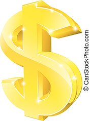 Gold dollar sign - An illustration of a big 3d gold dollar...