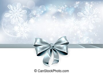 Bow and Snowflakes Christmas Background - Christmas...