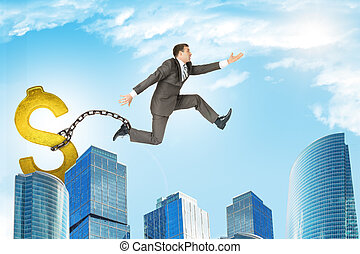 Man jumping over gap with dollar sign ballast - Image of...