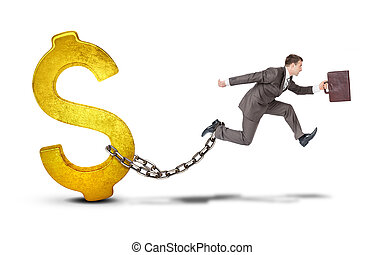 Businessman with dollar jumping over gap on white - Image of...