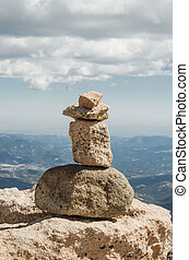 Cairn on Mount Evans - A stack of rocks near the peak of...