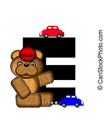 Alphabet Teddy Playing Cars E - The letter E, in the...