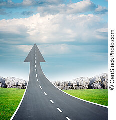 Freeway road going up as an arrow, fresh air - Highway road...
