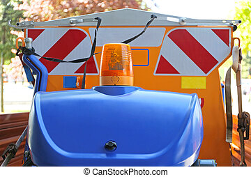 Road Works Vehicle With Amber Safety Light