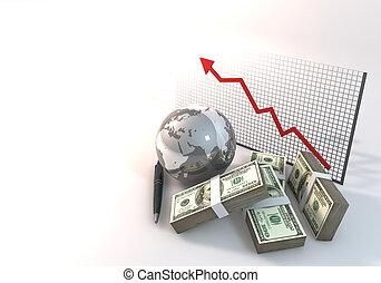 概念, 財政, 事務, 美元, 圖表,  rendering, 背景, 世界,  100,  3D, 白色, 風險