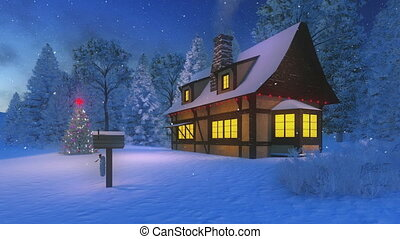 Illuminated Xmas tree and house - Dreamlike winter scene....