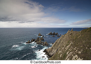 stunning clifftops in galicia, spain - stunning clifftops at...
