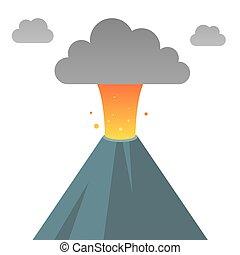 Erupting volcano illustration - Erupting volcano in modern...