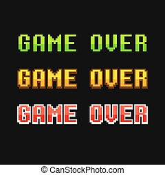 Game over 8 bit set - Set of old school pixel Game Over...
