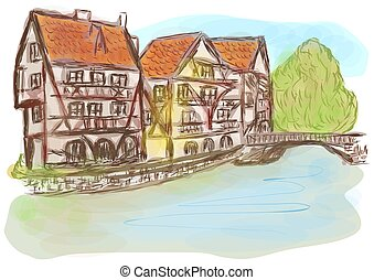Strasbourg. abstract silhouette of city on multicolor...