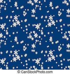 Seamless pattern of falling snow on dark blue background