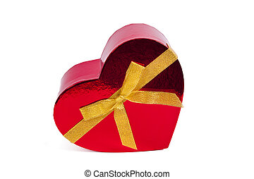 Isolated red heart shaped box, valentines day