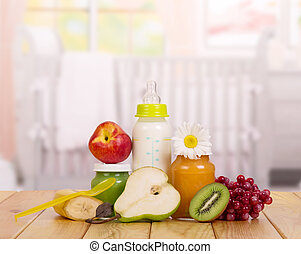 Baby food in the cradle background - Baby food close up in...