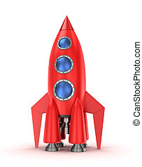 Red rocket isolated on the white background