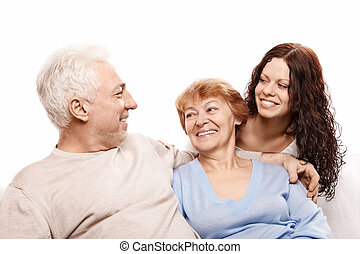 Happy family - Smiling happy family on a white background