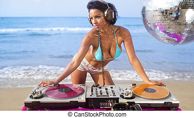 beautiful sexy woman dj at beach - beautiful sexy latin...
