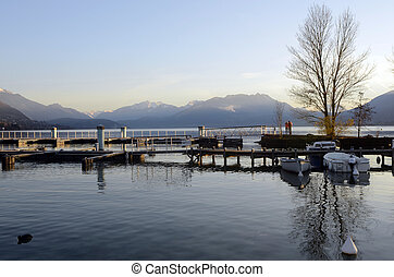 Marina and Annecy lake landscape in France - Marina and of...