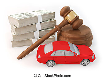 dollars stack and auction with car