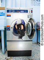 Cleaning Lady Trapped In Washing Machine - Feet Of A...
