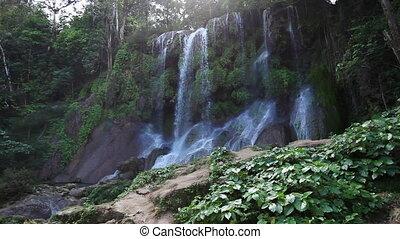 Soroa waterfall, Pinar del Rio, Cuba.Landscape in a sunny...