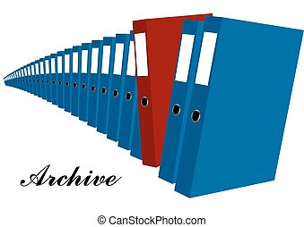 archive blue and red folders isolated on white background