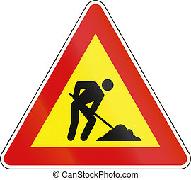 Slovenian road warning sign - Workers in road ahead