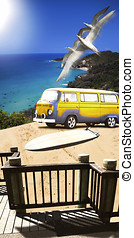 Van And Surf Board At Beach - Beautiful Summer Surfing...