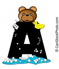 Alphabet Teddy Bath Time A - The letter A, in the alphabet...