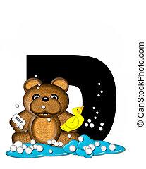 Alphabet Teddy Bath Time D - The letter D, in the alphabet...