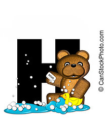Alphabet Teddy Bath Time H - The letter H, in the alphabet...