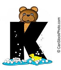 Alphabet Teddy Bath Time K - The letter K, in the alphabet...