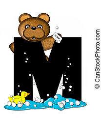 Alphabet Teddy Bath Time M - The letter M, in the alphabet...