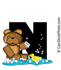 Alphabet Teddy Bath Time N - The letter N, in the alphabet...