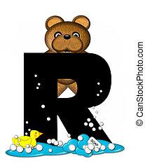 Alphabet Teddy Bath Time R - The letter R, in the alphabet...