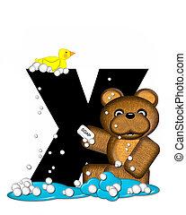 Alphabet Teddy Bath Time X - The letter X, in the alphabet...