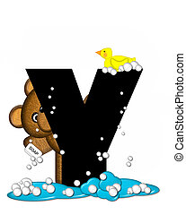 Alphabet Teddy Bath Time Y - The letter Y, in the alphabet...