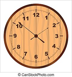 Wooden Clock Face - A wooden clock face over a white...