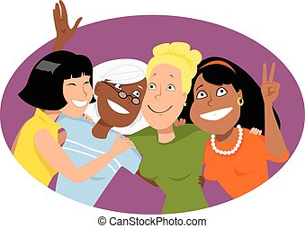 Group hug - Four smiling women of different ethnicities...