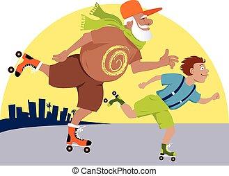 Grandpa and kid skating - Elderly man skating with his...