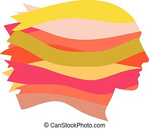 Feminism - Female profile made of multi-colored ribbons, EPS...