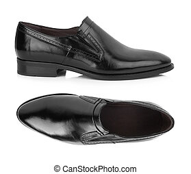 leather shoes - Black leather men shoes isolated on white...