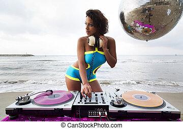 beautiful sexy woman dj at beach - beautiful sexy latin...